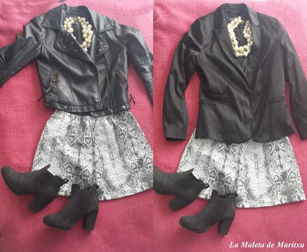 Falda de Serpiente con cazadora o blazer