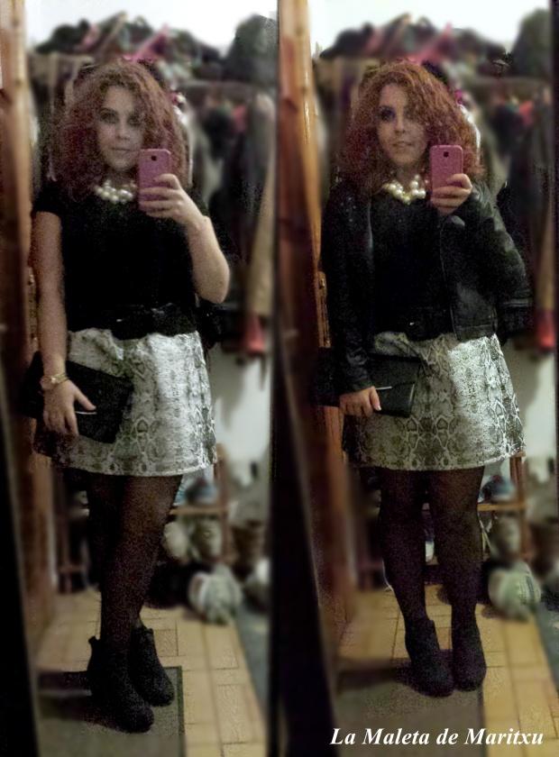 outfit con falda de serpiente